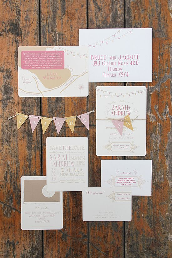 Whimsical Wedding Invitations with pull-out bunting by Ruby & Willow #weddin