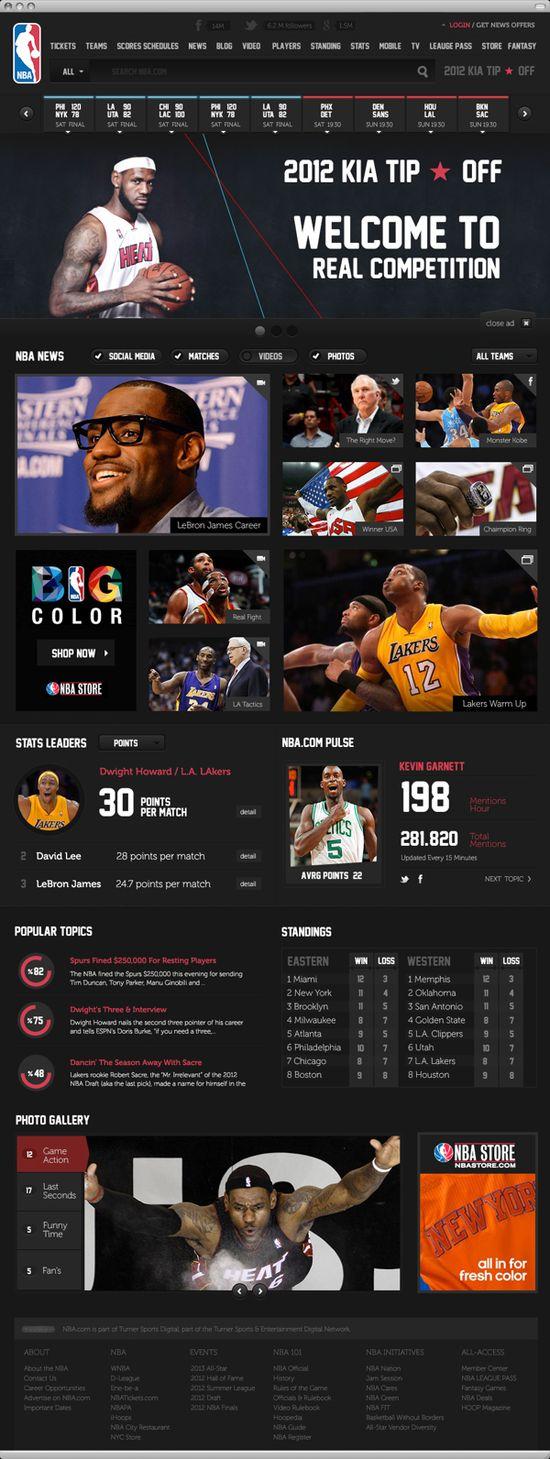NBA .com Concept #UI #Design #webdesign