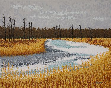 "Saatchi Art Artist Jim Pescott; Painting, ""Winter River"" #art"