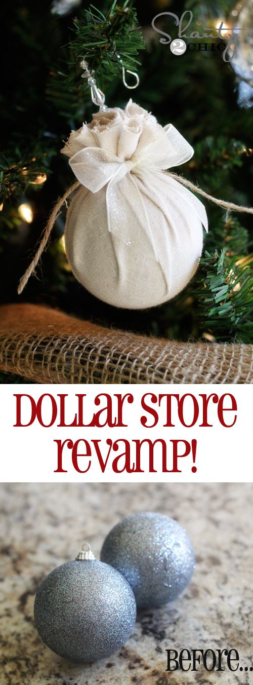Easy DIY #Christmas Ornaments at Shanty-2-Chic.com // Great way to revamp dollar store ornaments!! #12daysofchristmas