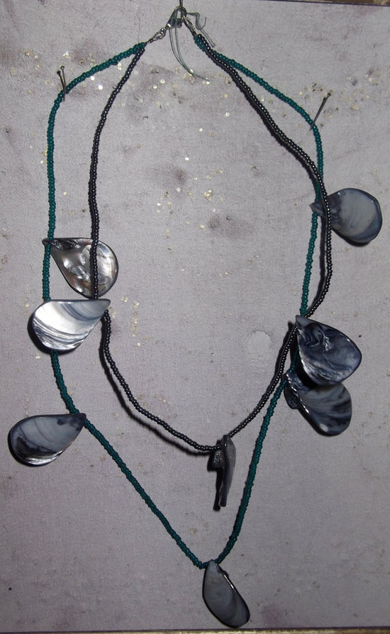 Emerald green, silver, slate grey bead and shell 2 tier necklace