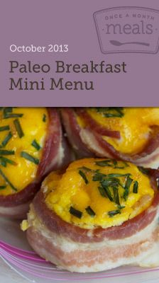 Paleo Breakfast Mini Menu 2013 - 10 Paleo, freezer friendly breakfast options to get your day started! Includes grocery lists, recipe cards, cooking day instructions, printable labels and more! #freezercooking #mealplanning #paleo