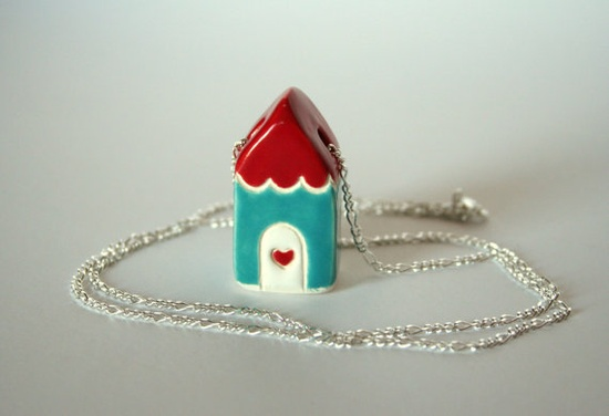 red aqua cottage necklace, sterling chain