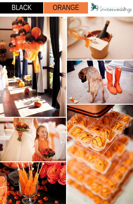 black and orange wedding ideas