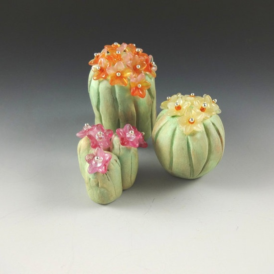 Art Sculptures Abstract Set Cactus Glass by CalliopeAZCreations, $60.00
