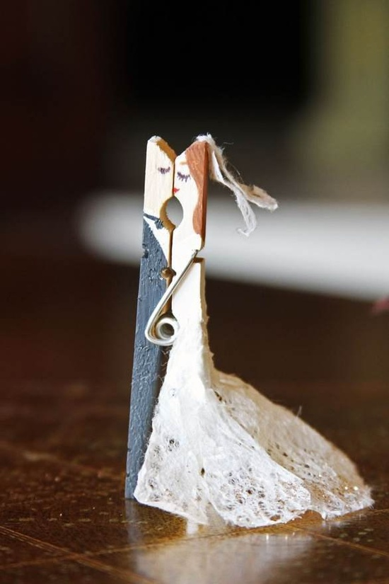 Clothespin Bride & Groom  placecard holders