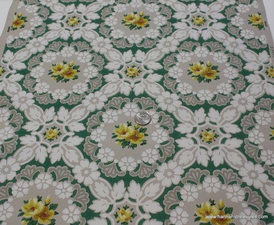 Vintage Wallpaper - 1940's Green and Yellow Floral