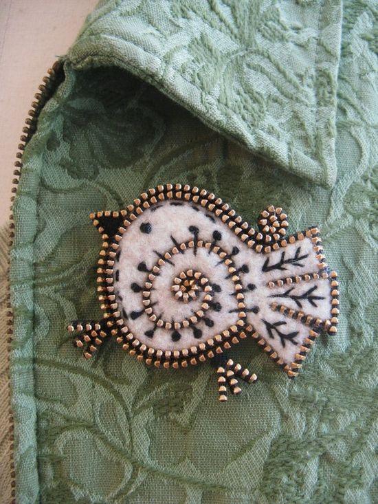 Cute bird made with felt & zipper:)