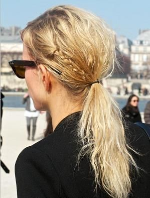messy ponytail with small braid