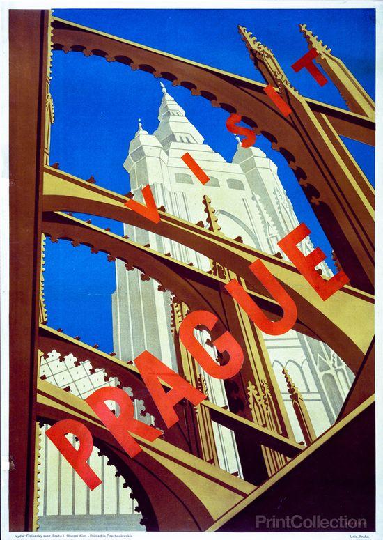 1930's Prague travel poster