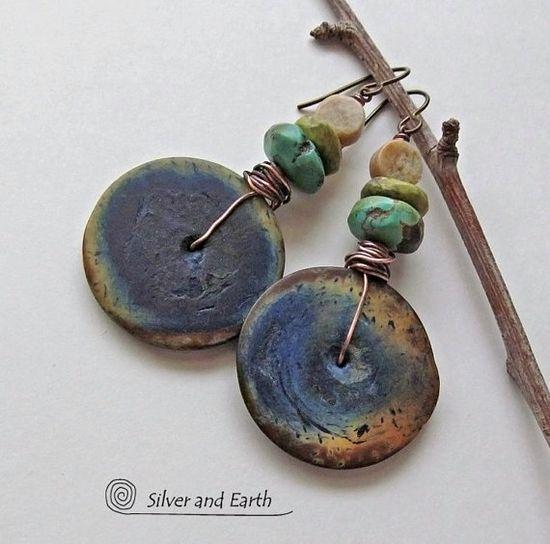 Boho+Dangle+Earrings+w+African+Bone+Turquoise+by+SilverandEarth,+$38.00