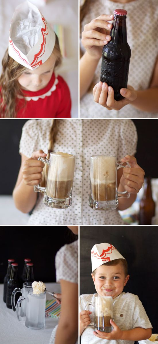 Root Beer Float Party + Soda Fountain Hats DIY