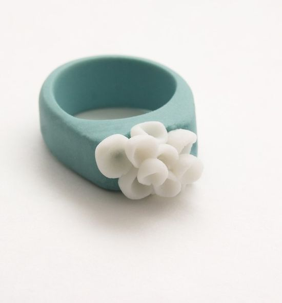 THIS IS GORGEOUS!!!!!!!!  Porcelain Jewelry Los Cabos Porcelain Ring Turquoise by MaaPstudio, $46.00