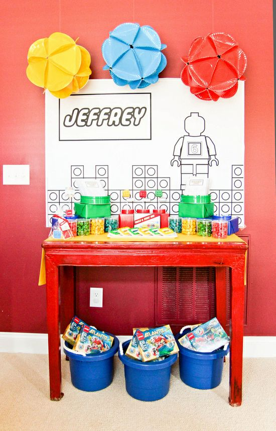 cool lego party idea - but circle balls made out of paper plates could be used for any party.