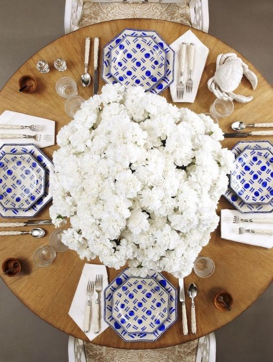 blue + white tablescape