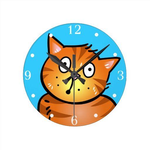 Cute Red Cartoon Cat - Wall Clock
