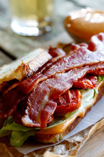 The Ultimate BLT Sandwich with Roasted Tomatoes, Garlic, Dijon, Lemon on Toasted Sourdough