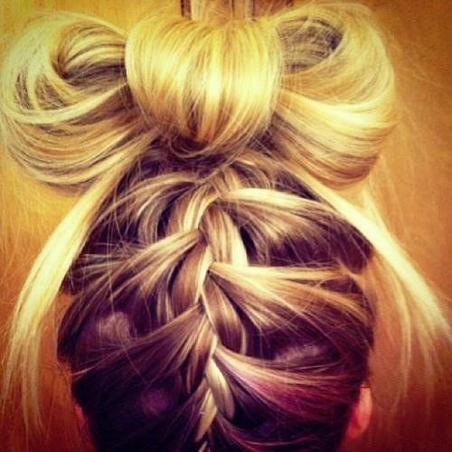 braid into hair bow
