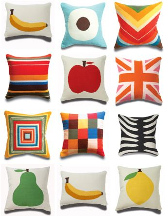 Playful patterns and colors with these @Jonathan Adler Pillows