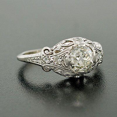 Art Deco 18kt Filigree Diamond Engagement Ring .96ct