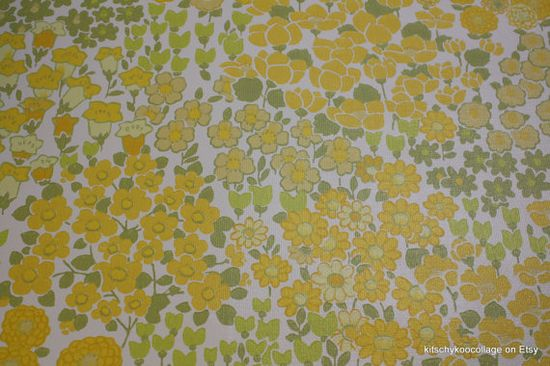 1960's Vintage Wallpaper yellow and green meadow of flowers.via Etsy.