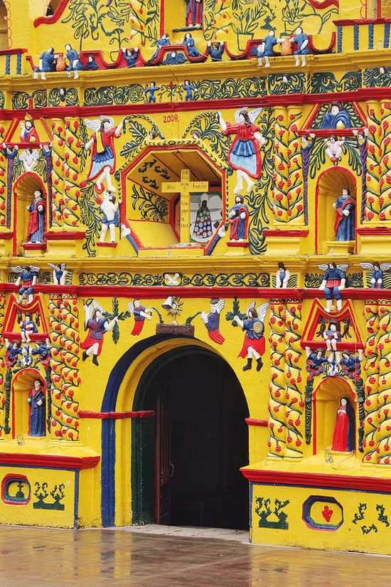 Colorful Church of San Andres Xecul - Guatemala.
