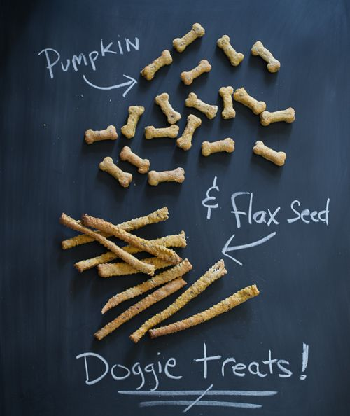 Treat your dog to wholesome, homemade treats made with pumpkin and flax seed.