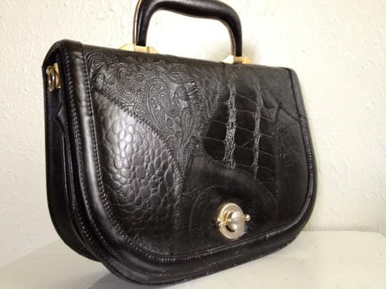 Black Lambskin Retro Handbag Italian Leather #madmen #bettydraper #vintage Etsy