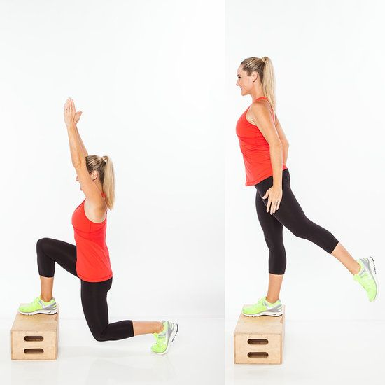 Rear Raising Lunge Sets: 3 Reps: 20  A. Begin in a split stance with right foot on top of a box or step. Lower into a lunge, bending back knee directly under hip as both arms extend overhead. B. Shift weight into right leg, and stand up onto step, extending left (back) leg straight behind hip as arms lower by sides (avoid leaning forward with torso as leg lifts). Hold for one count, and then lower to return to the starting position. Complete all reps on the first side; then switch legs and r…