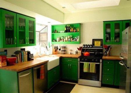Green Small Kitchen Interior Design Ideas - Kitchen