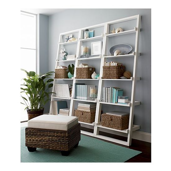 "office; Set of 3 Sloane White 25.5"" Leaning Bookcases in Bookcases, Cabinets"