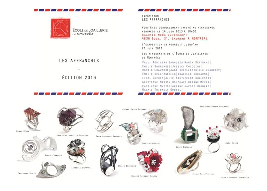 """Galerie Noel Guyomarc'h """"Les Affranchis""""     Du 14 au 23 juin, exposition des finissants de l'École de Joaillerie de Montréal"""