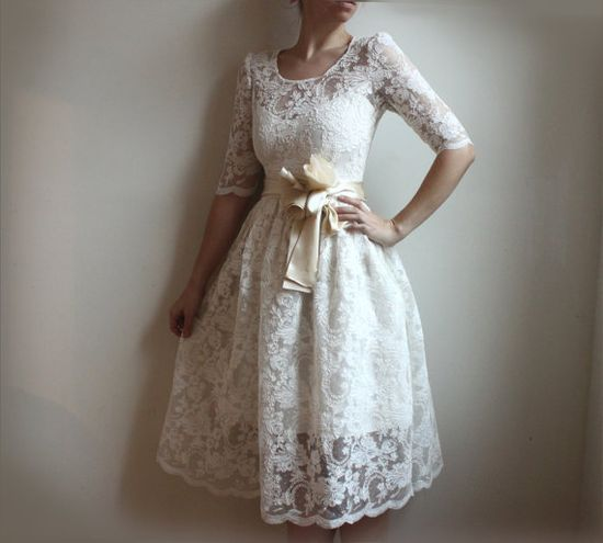 Lace and cotton wedding dress - Etsy