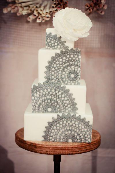 grey lace cake