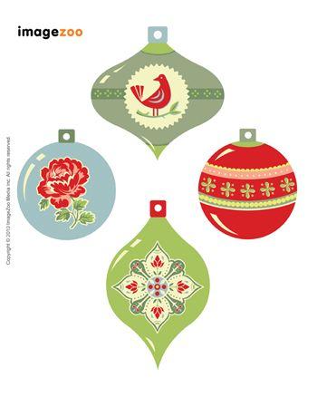 Vintage bauble gift tag printable #christmas