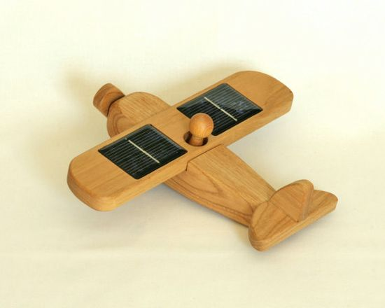 Wooden Airplane - Wooden Toy - Solar Powered Eco-Friendly