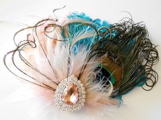 Wedding Feather Hair Accessories, Feather Fascinator, Bridal, Hair Accessory, 1920s, Peacock, Peach, Teal, Ivory, Apricot, Hair Clip on Etsy, £22.89