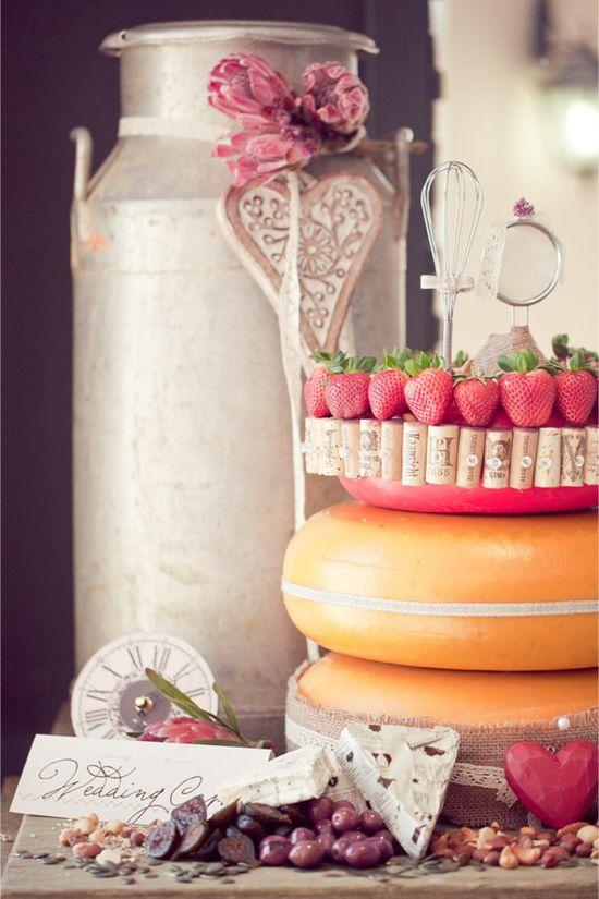 Cheese wheel wedding cake / Leani Holmes Photography