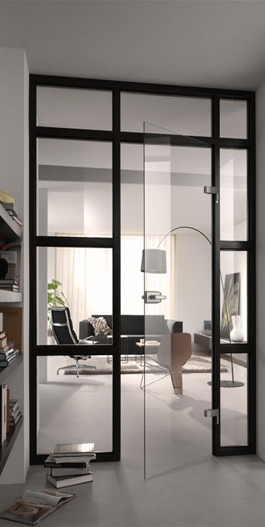 sleek office. amazing door.