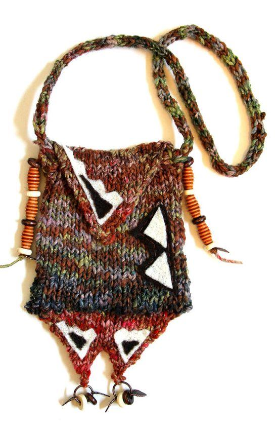 Medicine bag necklace knit bag fiber jewelry by FruitofPhalanges, $36.00