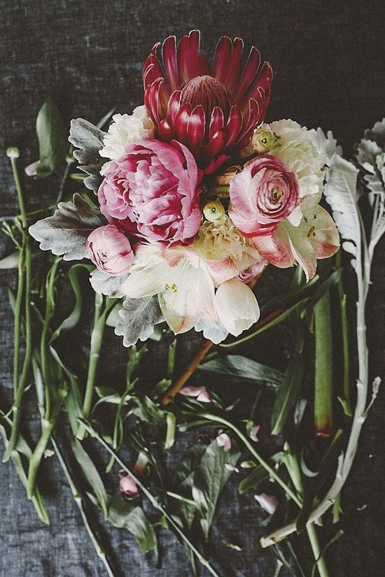protea, ranunculus, tulip, peony, easter lilies, carnations and dusty miller, photo by tomasz wagner.