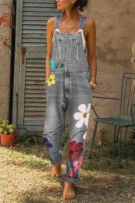 Floral Print Denim Pockets Jumpsuit - shopingnova