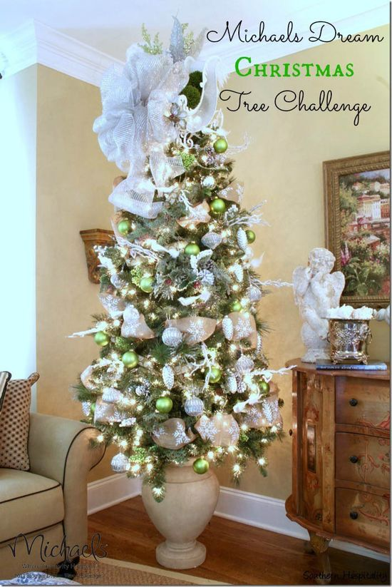 Glitter and Green Christmas Tree by @sharon murphy Hospitality Rhoda #JustAddMichaels
