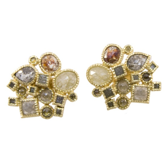 Todd Reed 18k Yellow Gold Earrings with approx. 8 carats of Natural Colored Fancy Cut, Rose Cut and Raw Diamonds.