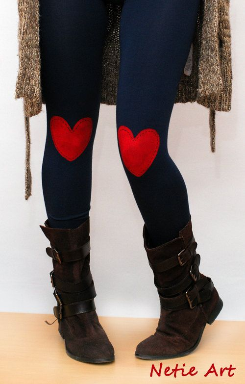 Red heart patched leggings in navy by NetieArt