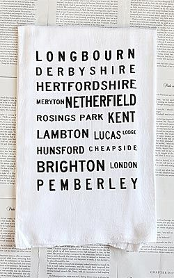 Jane Austen Tea Towel - Who knows where you'll put this cute towel (the bathroom? Kitchen? Across your eyes to shield them from the blinding sun that you've missed all these years from reading too much?), and who cares. It's adorable.
