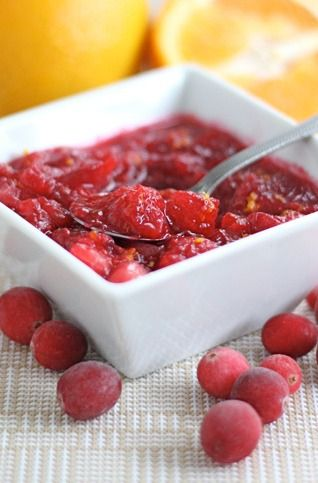 Fresh Cranberry Orange Sauce Recipe on twopeasandtheirpo... The best cranberry sauce and it's SO easy to make at home!