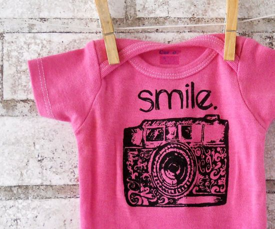 """35mm Camera  baby Onesie with """"smile"""" text Cotton bodysuit  creeper in sky blue or custom colors. $16.00, via Etsy."""
