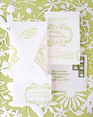 Green and White Invitations