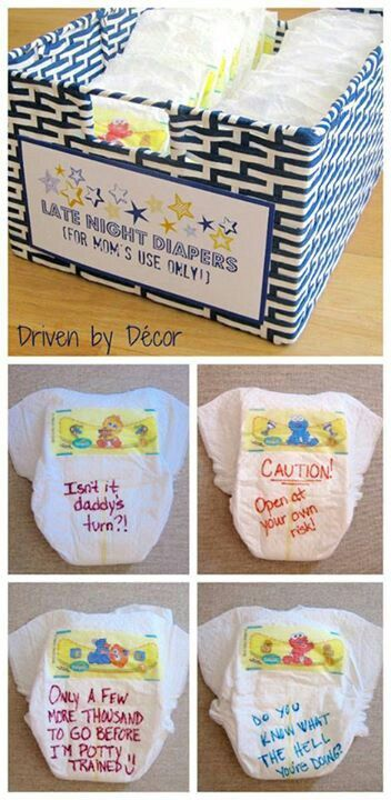 Baby shower gift/game. Each guest writes something helpful 2 get exhausted new Mom thru a midnight diaper change
